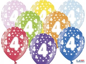 Balony 30cm, 4th Birthday, Metallic Mix, 6 szt.