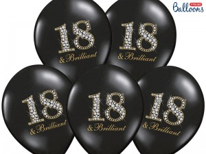 Balony 30cm, 18 & Brilliant, Pastel Black, 6 szt.
