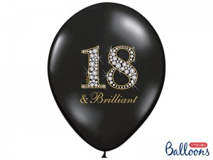 Balon 30cm, 18 & Brilliant, Pastel Black, 1 szt.