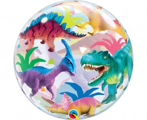 "Balon foliowy 22"" BUBBLE - Dinozaury, QL"