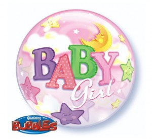 "Balon foliowy 22"" QL Bubble, BABY GIRL"