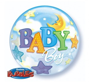 "Balon foliowy 22"" QL Bubble, BABY BOY"