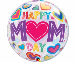 Balon foliowy 22 cale QL Bubble Poj. Happy Mom day